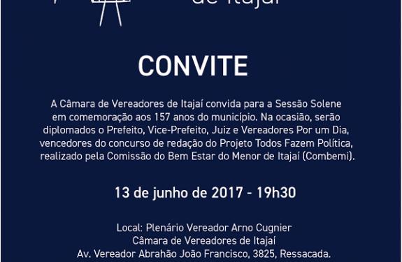 Convite: Sessão Solene de157 anos de Itajaí