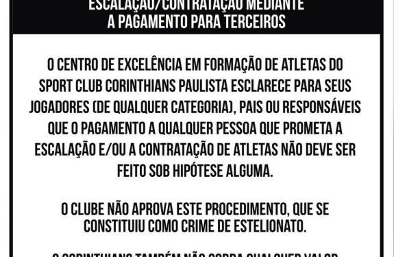 Corinthians espalha placas orientando contra pagamento de propina
