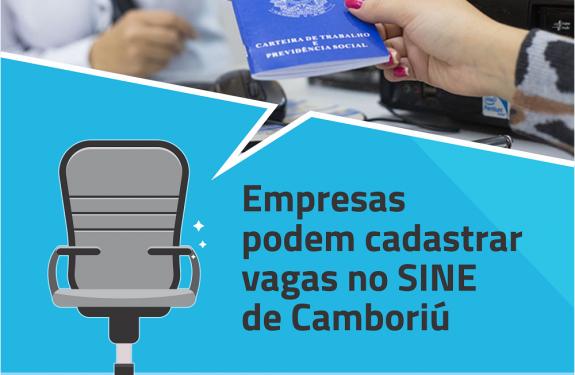Empresas podem cadastrar vagas no SINE de Camboriú