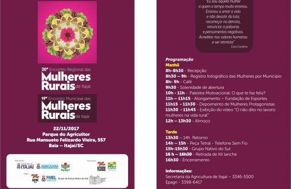 Encontro de Mulheres Rurais acontece na quarta-feira (22)
