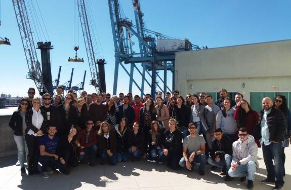 Estudantes de Engenharia Civil e Arquitetura e Urbanismo visitam o Porto de Itajaí.