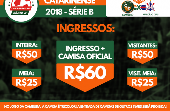 Informações de ingressos para Camboriú x Marcílio Dias