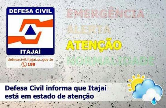 Itajaí está em estado de atenção devido à chuva