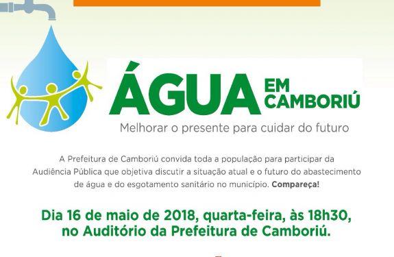 Prefeitura de Camboriú vai ouvir população sobre abastecimento de água em audiência pública