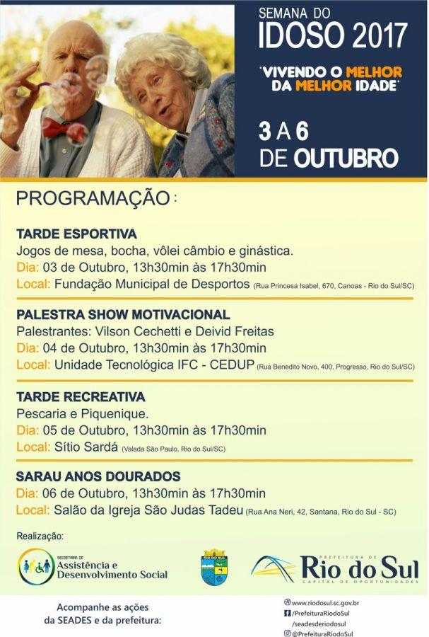 Semana Do Idoso Terá Atividades Culturais Em Rio Do Sul
